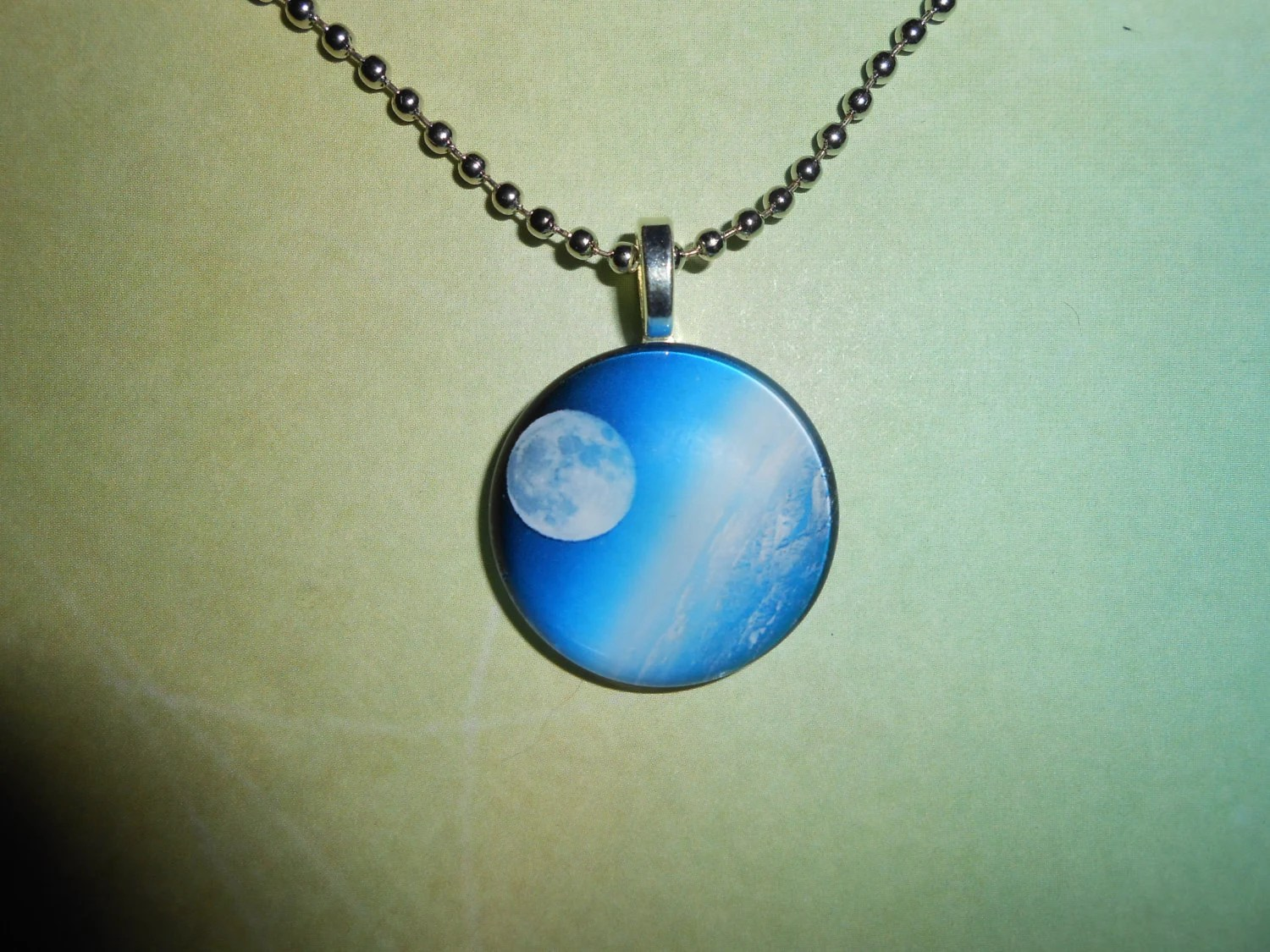 Moon and Earth Pendant with Necklace - DecoupageDelinquent