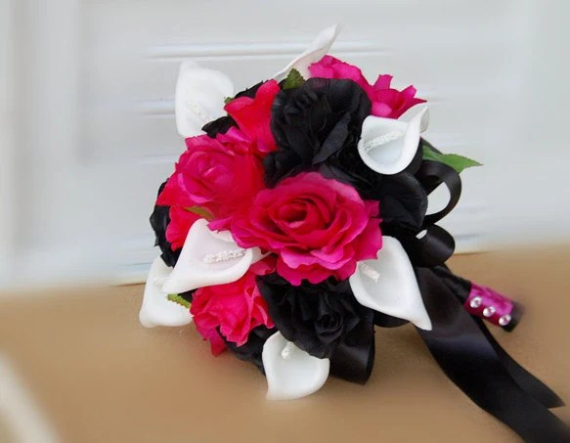 Items Similar To Hot Pink Black, White Silk Flower Wedding