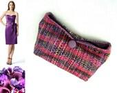 Handwoven Clutch / Purse OOAK Chenille  Magenta, Blue, Purple - PenelopePouch