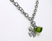Lucky Four Leaf Clover Necklace with Emerald Green Swarovski Crystal Cube - SophisticatedLady