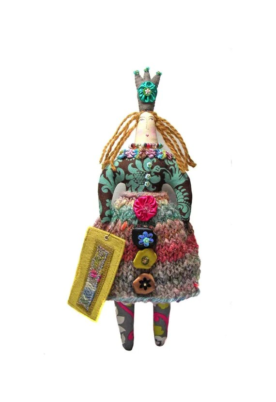 SALE  Textile Art Cloth Queen Doll. Larger Version. Tall Crown Queen. With Woven Art Tag.  Use coupon code SEA15 at checkout for 15% OFF