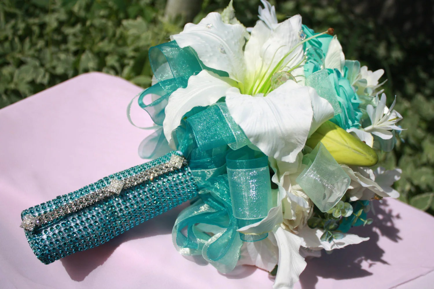 Wedding Silk Flower Bouquet Mint Turquoise Rose Lily Bridal