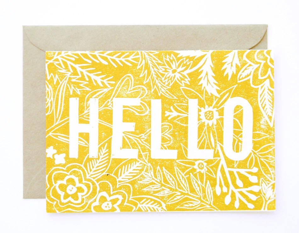 Linocut Hand Printed card - Hello - AmeliaHerbertson