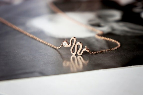 snake necklace - Rose gold titanium