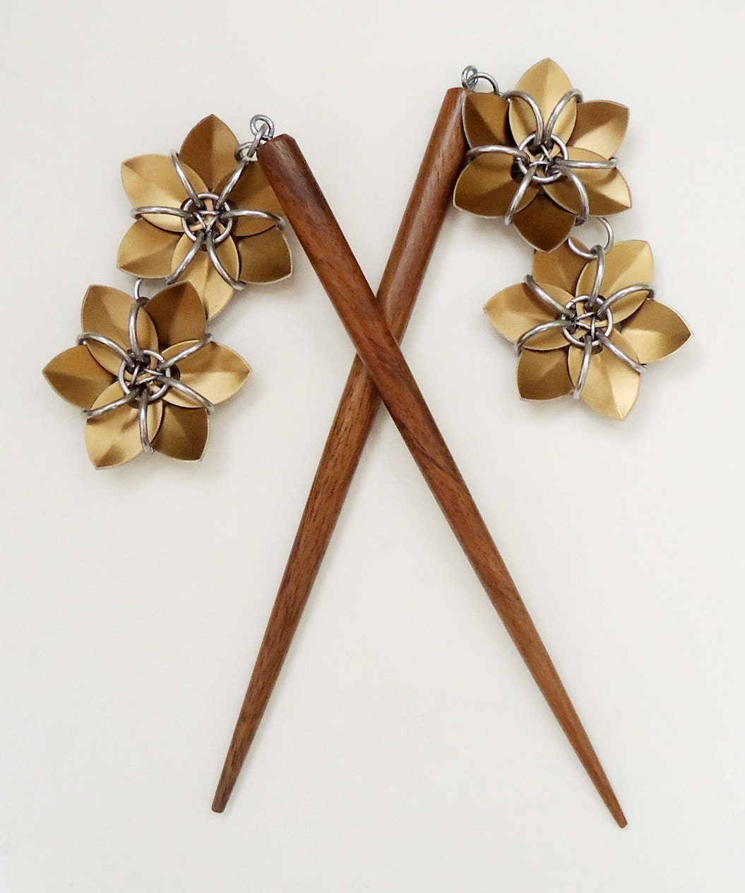 Pair Of Six Inch Wooden Hair Sticks With By Lanzacreations