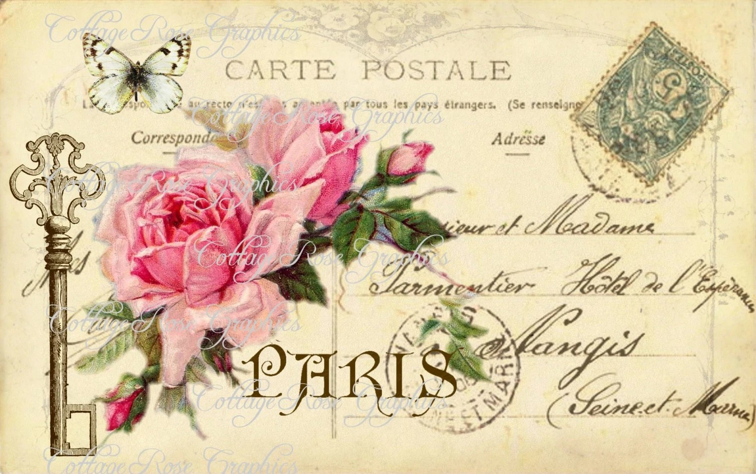 Large Digital Download The Key To Paris By CottageRoseGraphics