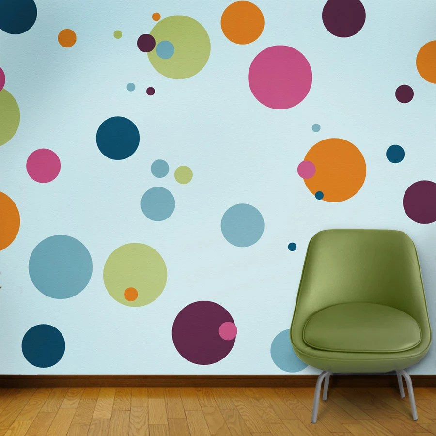 Polka Dot Wall Mural Stencil Kit For Girls Or Baby Room