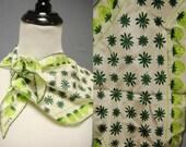 Vintage Green Strawberry Print Scarf - Retro Scarf - 1970's - Vera Scarf - Wing Tip Scarf - Silk - LittleGhostVintage