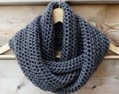 Charcoal Grey Infinity Scarf - Loop Scarf - Ready to Ship - TatianaKnits