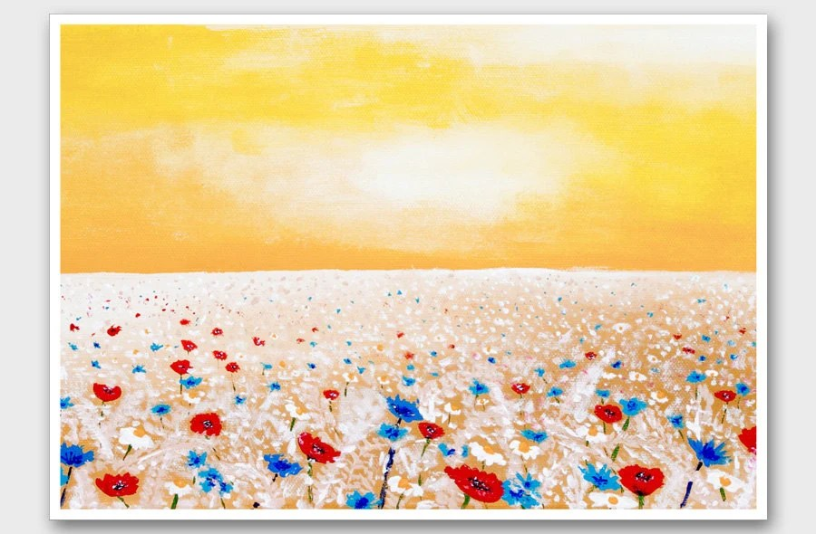 Landscape art print Yellow Red poppy field painting print Floral sunny painting reproduction Home decor wall art A3 size wall decor - AstaArtwork