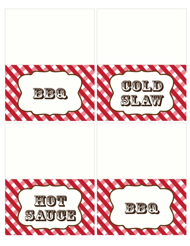 Bbq Food Labels Birthday Printable Invitation