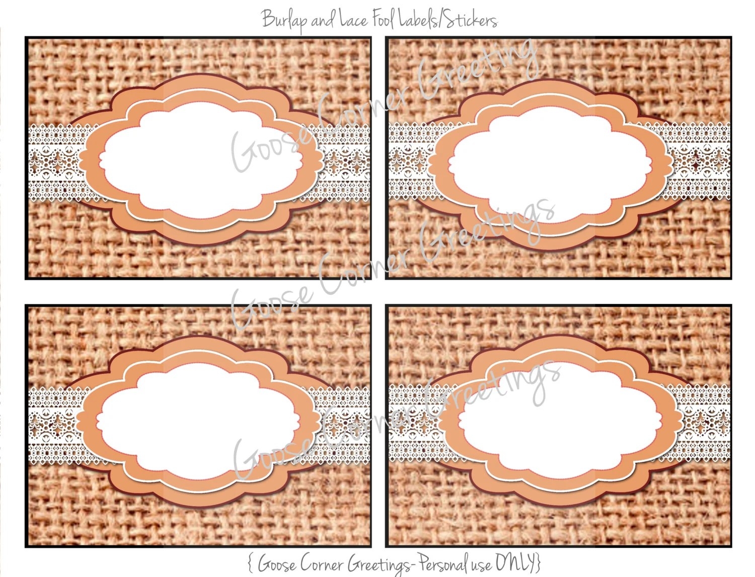 Printable Buffet Food Labels Burlap And By Goosecornergreetings