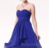 Custom Knee Length Short Chiffon Royal Blue Bridesmaid / Bride / Wedding / Party / Cocktail / Dinner Venue Dress - hollyxholly