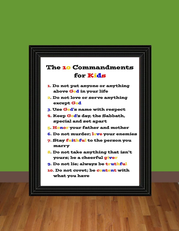 The Ten Commandments For Kids Exodus 20 Teaching Printable