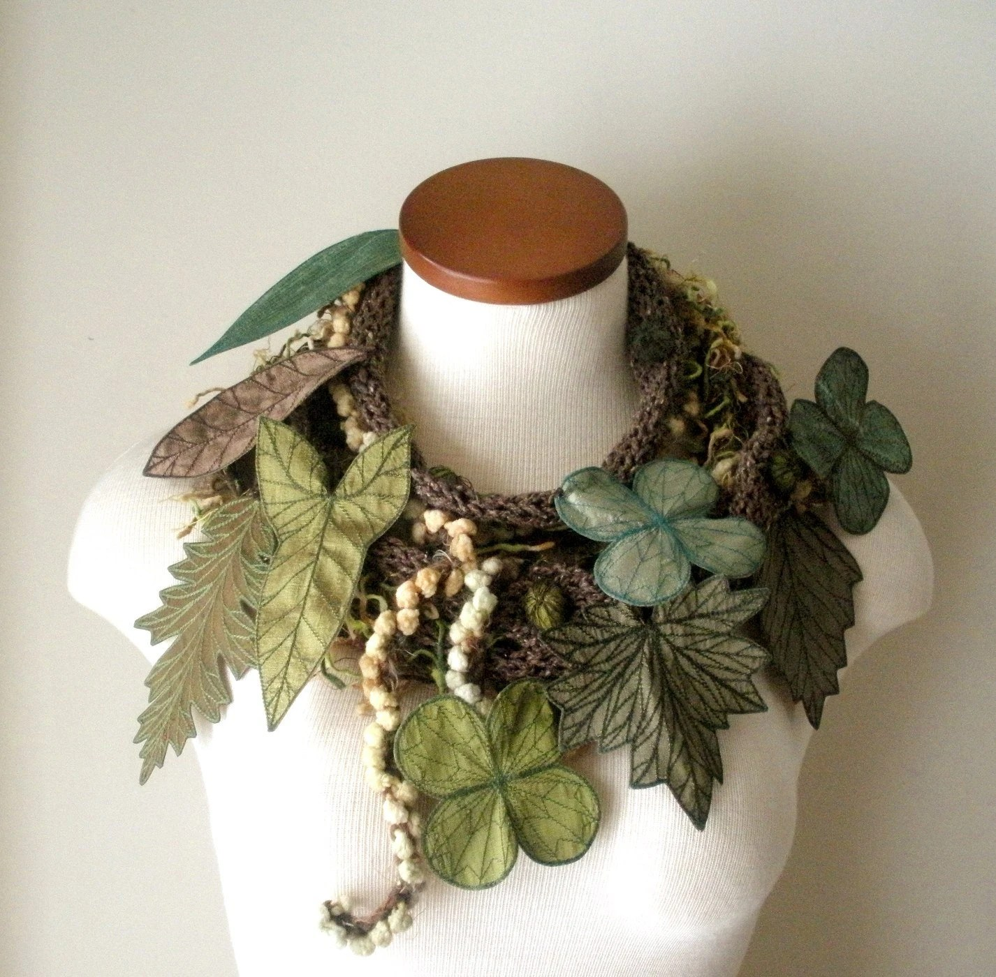 Long and Leafy Scarf with Embroidered Leaves- Tweedy Brown with Leaves of Sage, Olive, Jungle Green, and Bronze-Brown- Fiber Art Scarf - TheFaerieMarket