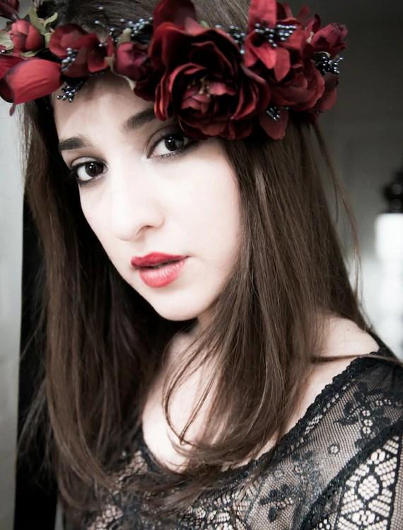 Statement Flower Crown Burgundy Marsala Made To Order Costume