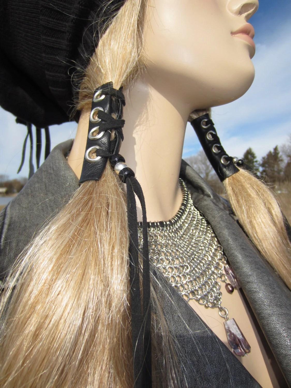 Hair Wraps Black Leather Tie Beaded Ponytail Holder Hair