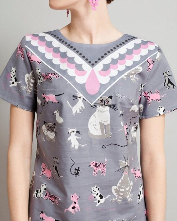 cat print shirt Supayana Small, Medium, and Large