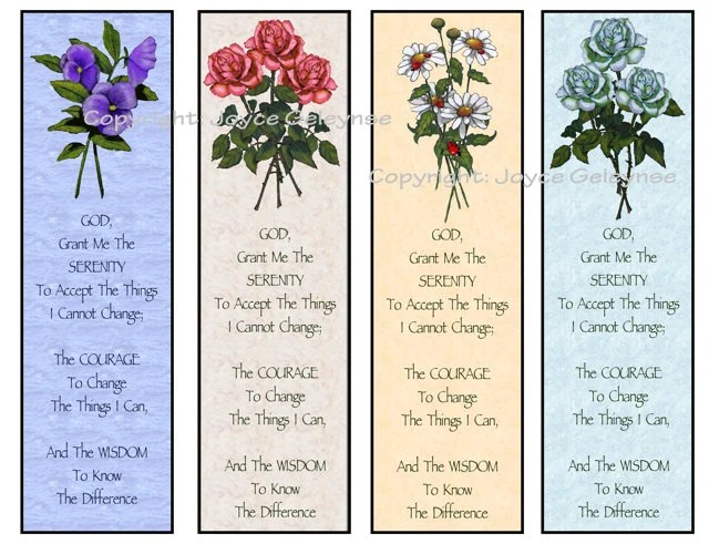 Printable Bookmarks Flowers Serenity Prayer INSTANT