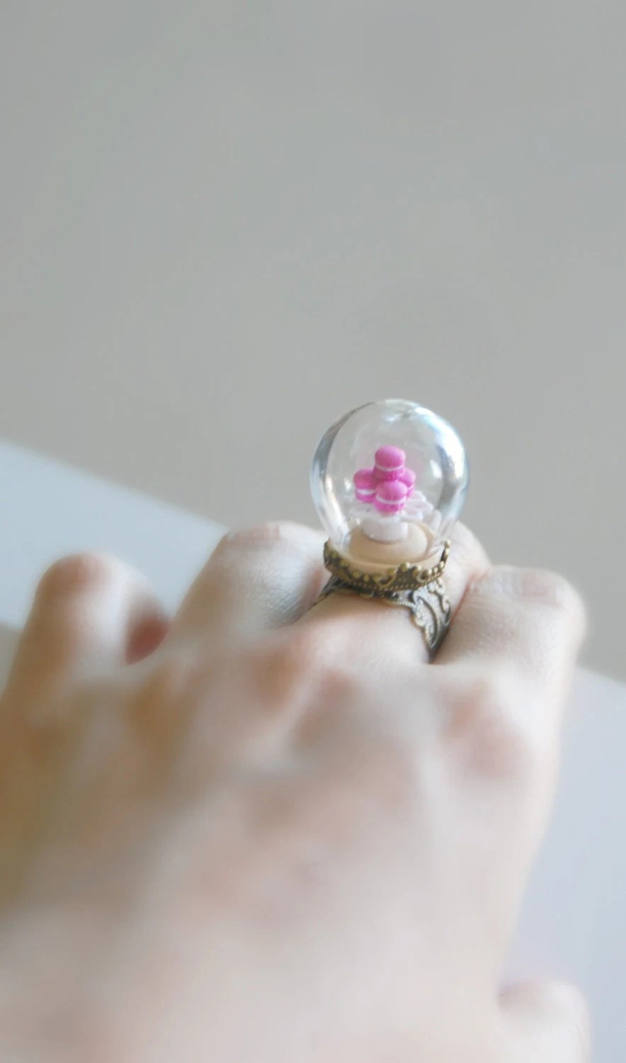 A French Patisserie Ring. Fake Food. Jewelry. Miniature. Shabby Chic. Polymer Clay. Handmade. Paris. Terrarium Ring. Romantic. Spring.