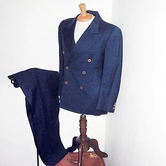 vintage 40s forties film noir mans suit wool navy striped 38 short