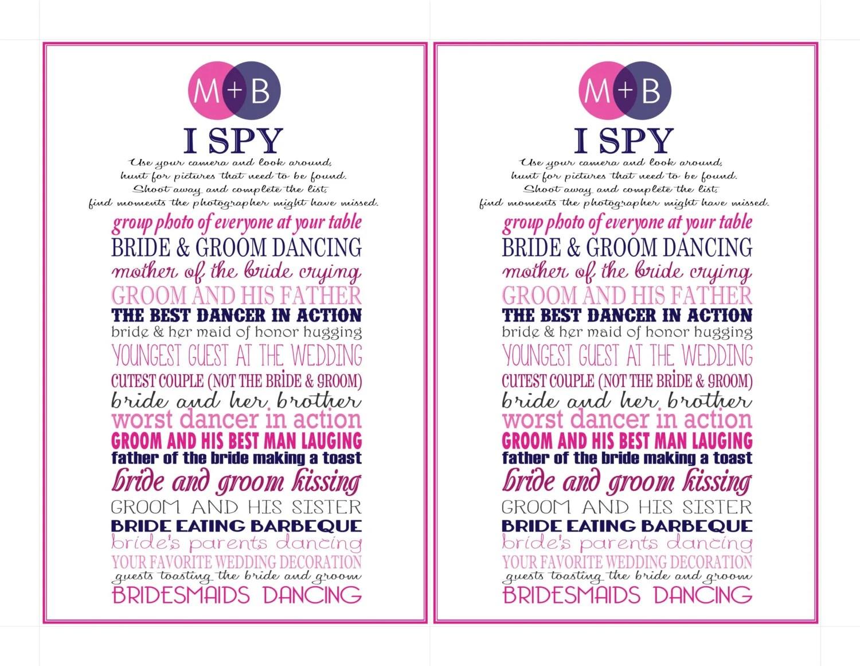 Wedding I Spy Card Fun Activity For Wedding