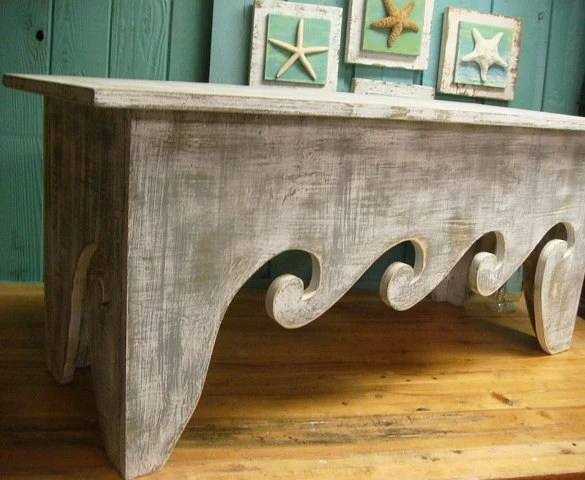 Bench Seat Coffee Table Waves Beach House Chair Assemble Yourself Beach House Decor - CastawaysHall