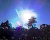 Fractured Blue Sky 5x7 print // Pixel Art, Abstract Landscape, Blue, Black, White, Sun, Tree - atgiese
