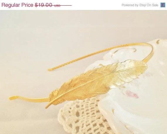 SALE 24K Gold Plated Feather Headband - Bridal Headband, Tiara, Gold Brass Feather, Shabby Chic - hangingbyathread1