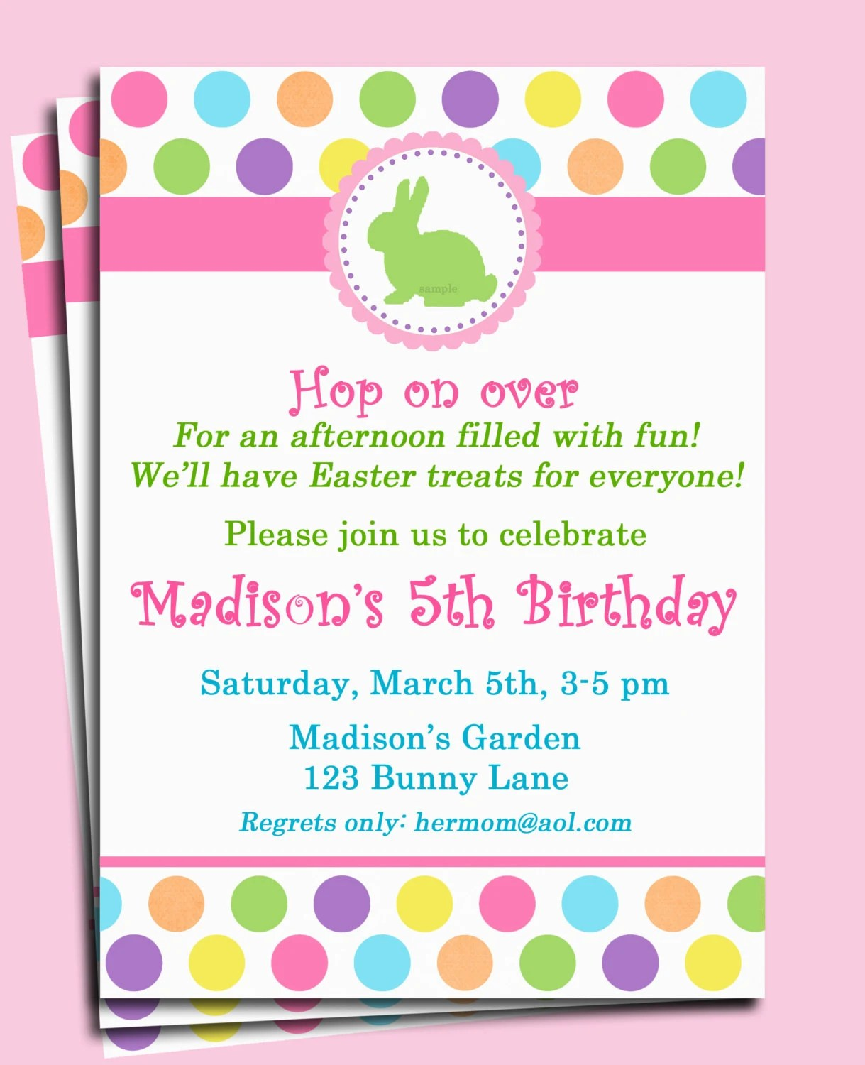 Easter Bunny Invitation Printable Or Printed By Thatpartychick