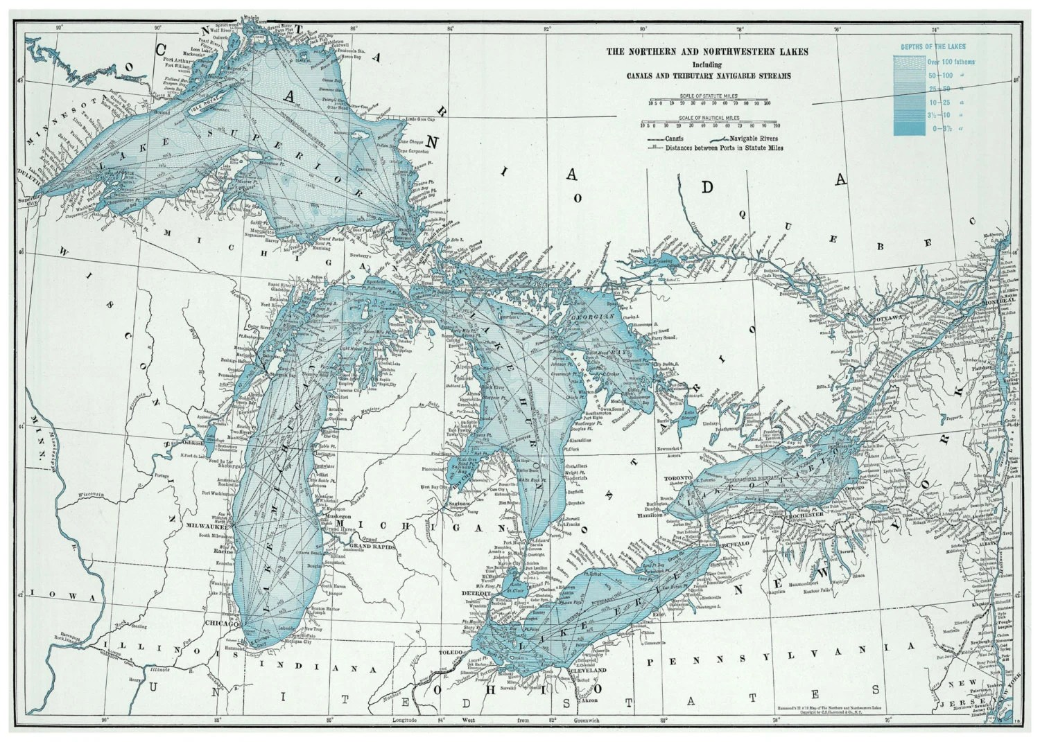 Great Lakes Map Poster Print By Themapshop On Etsy