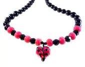 Valentines Day Heart Necklace Handmade Lampwork Glass Beads SRA Rose Red and Black - KittyKatGlassDesigns
