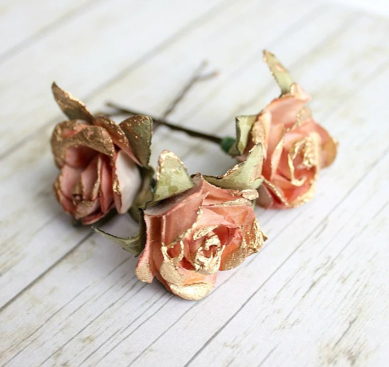 Dusty Rose And Gold Flower Hair Pins Paper Flowers