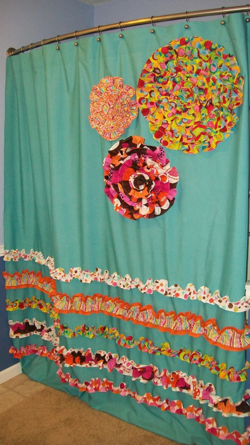 Items Similar To Shower Curtain Custom Made Designer Fabric Ruffles Flowers Aqua Teal Turquise