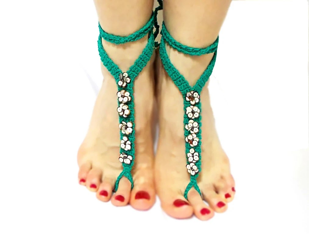 Crochet barefoot sandal, anklets, Green, Foot jewelry, Yoga, Eclectic, Stylish Anklet, Barefoot Sandals, Gypsy accessory, Beach Sandals - CatsAndSheeps