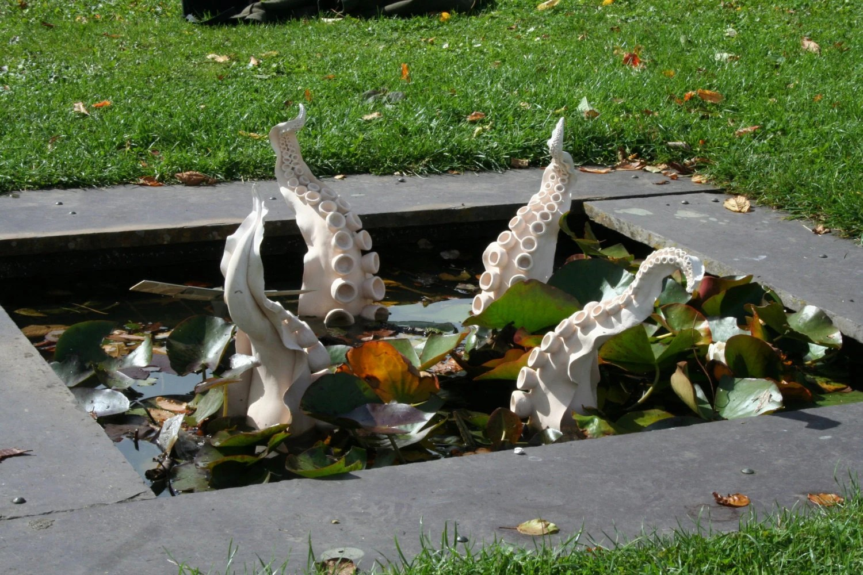 Ceramic Outdoor Tentacle Sculpture with Magenta Glaze