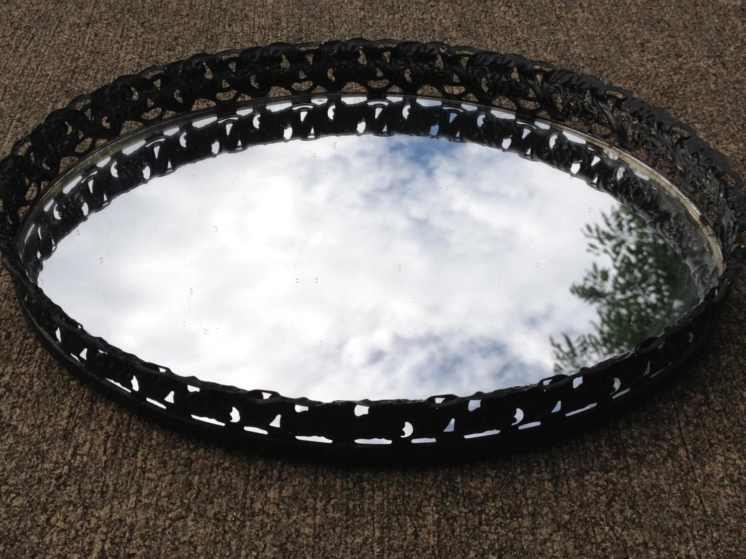 Upcycled Vintage Black And Gold Oval Vanity Mirror Tray