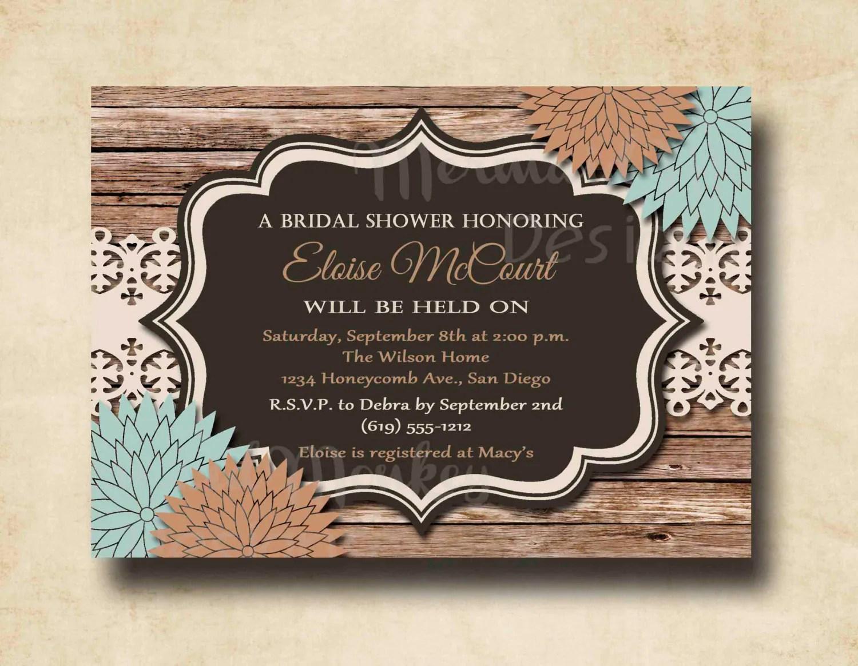 Rustic Bridal Shower Invitation Wedding By