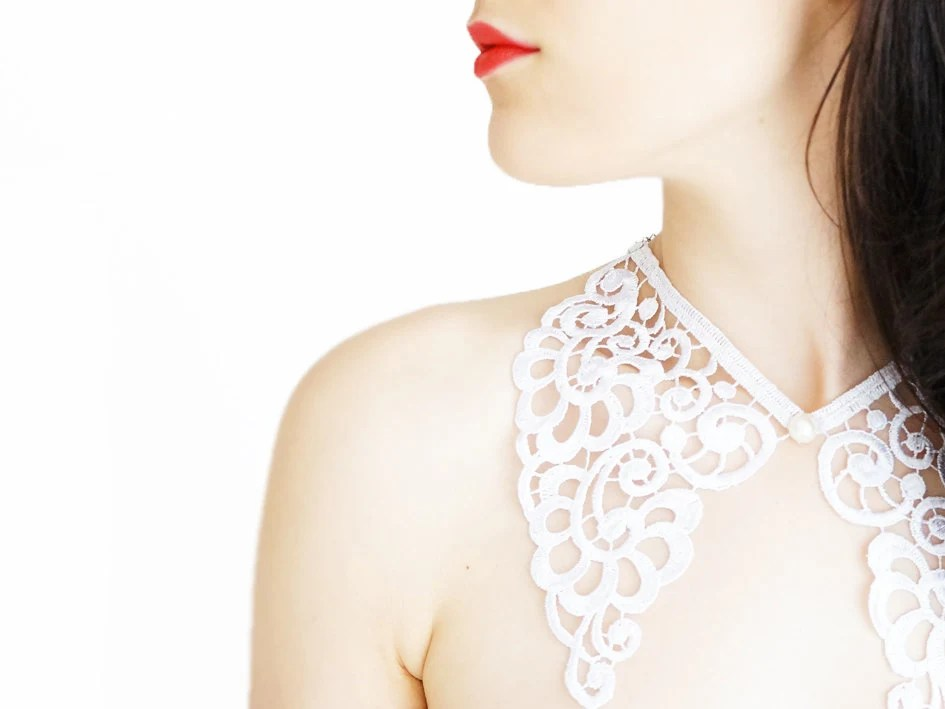 Tasania // Handmade White Floral Lace Collar Wedding Bride Necklace Applique Blouse Accessories Peter Pan Collar Pearl - EPUU