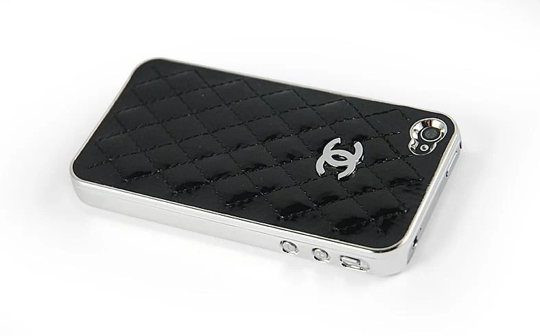 Lovely Black Leather Hard IPhone 4 Case , CC Iphone 5 Case , Silver Edge Hard Case , Bling CC logo Iphone 4s Cover