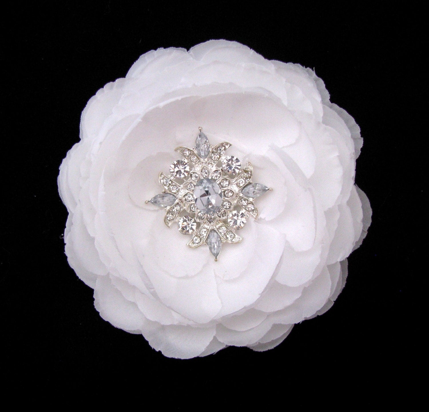 White Flower Hair Clip Crystal Rhinestone Bridal Hair