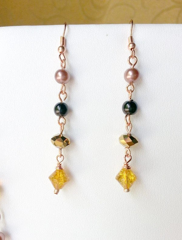 Serengeti Queen - Wire wrapped copper earrings