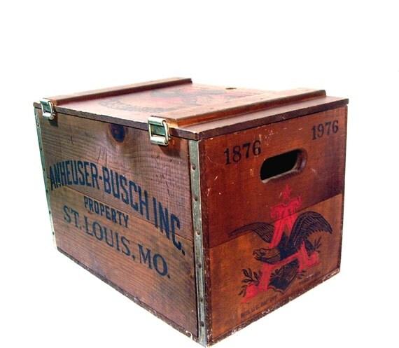 Vintage Wood Crate Box Budweiser Beer Centennial 1976