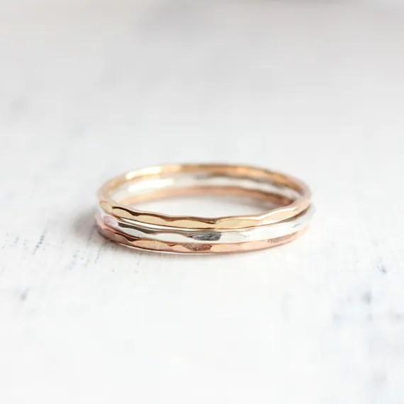 Zarte Gold und Silber Ringe stapeln, 14k gelb Gold, 14 k rose Gold, Sterling silber, Stack Ringe, Eco-Friendly, gehämmert Ringe