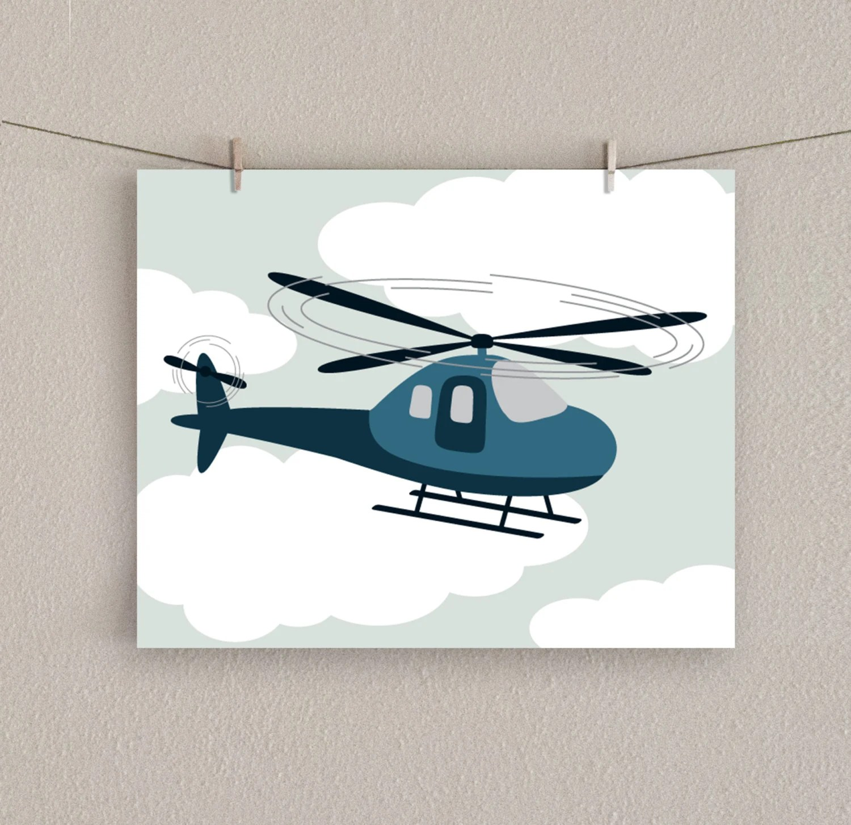 Baby Boy Nursery Art - Helicopter Print - Transportation Decor - Blue, 8x10 - SlightlySprightly