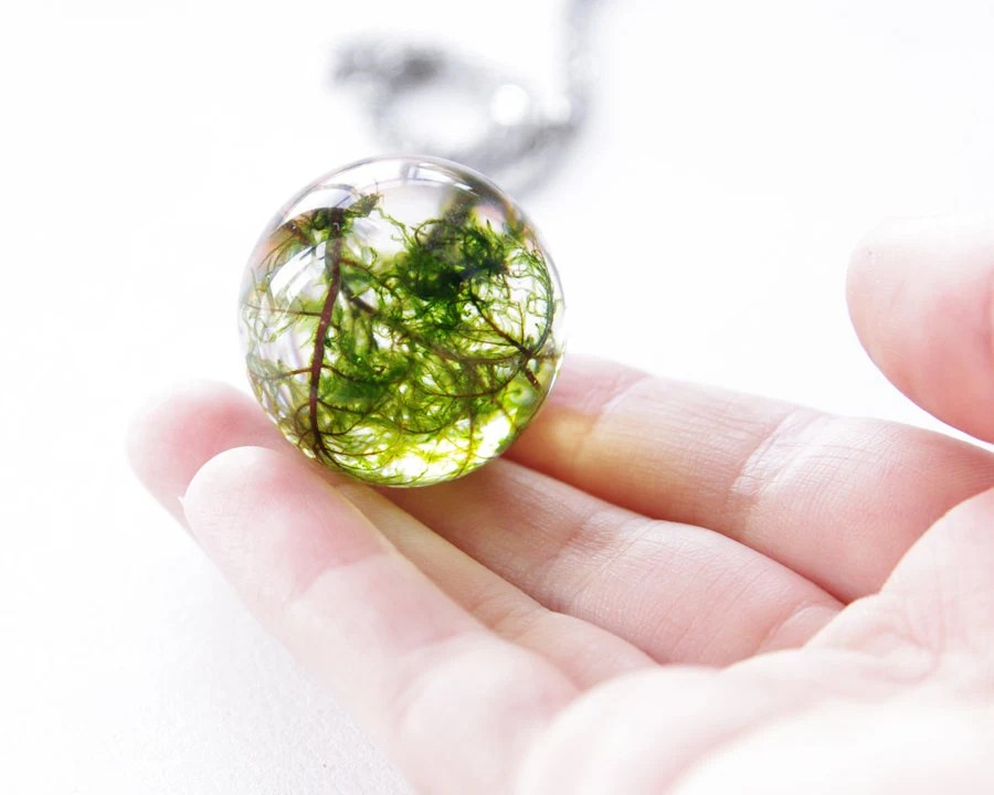 Large moss necklace - unique green resin orb ball - stainless steel chain - UralNature