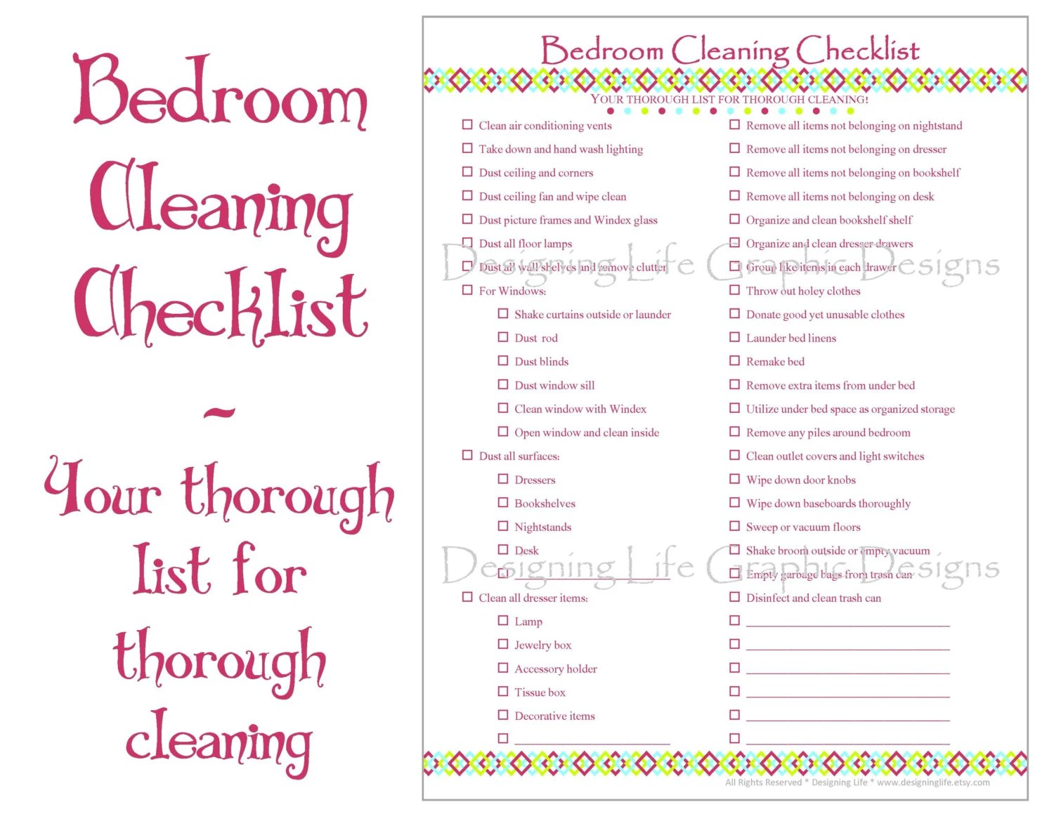 Bedroom Cleaning Checklist Printable By Designinglife