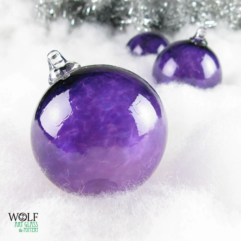 Blown Glass Christmas Ornament Holiday Tree Decoration Amethyst Purple Glass Bulb Ornament - wolfartglass