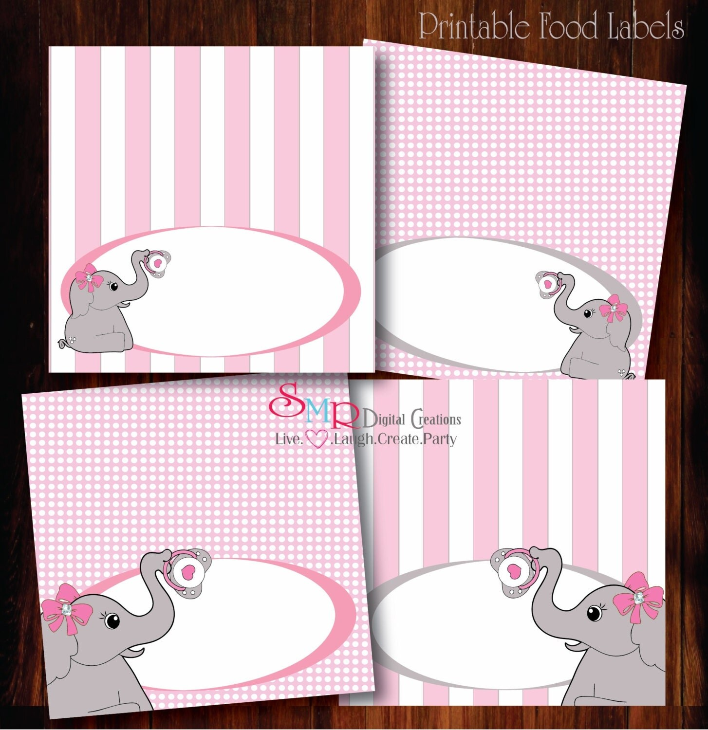 Elephant Baby Shower Food Labels Printable By Smrpartydesigns