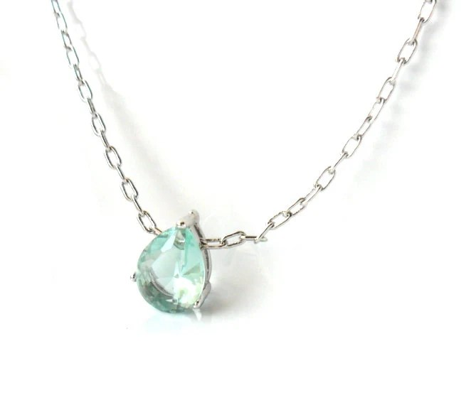 Something Blue Aquamarine March birthstone Silver Framed Erinite Teardrop Glass Stone platinum plated chain Bridal  simple jewelry Solitare - Daniblu